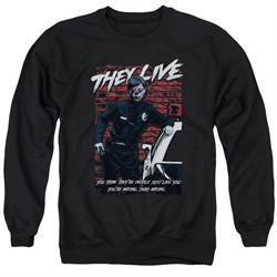 They Live  Sweatshirt Dead Wrong Adult Black Sweat Shirt