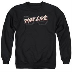 They Live  Sweatshirt Glasses Logo Adult Black Sweat Shirt