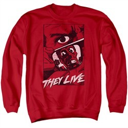 They Live  Sweatshirt Graphic Poster Adult Red Sweat Shirt