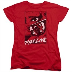 They Live  Womens Shirt Graphic Poster Red T-Shirt