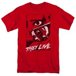 They Live Shirt Graphic Poster Red T-Shirt