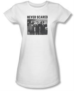 Three Stooges Junior Shirt Never Scared White Tee T-Shirt
