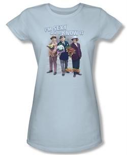 Three Stooges Junior Shirt Sexy Light Blue Tee T-Shirt