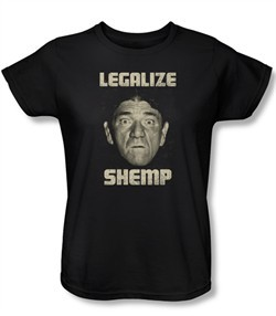 Three Stooges Ladies Shirt Legalize Shemp Black Tee T-Shirt