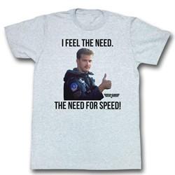 Top Gun Shirt Feel the Need Adult Grey Tee T-Shirt
