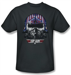 Top Gun Shirt Maverick Helmet Adult Charcoal Tee T-Shirt