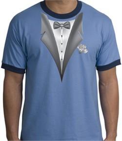 Tuxedo T-Shirt Ringer With White Flower