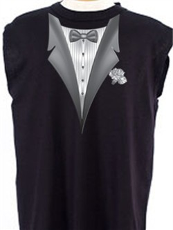 Tuxedo T-Shirt Shooter With White Flower