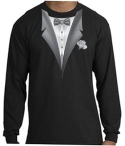Tuxedo Long Sleeve Shirt With White Flower Black Shirt
