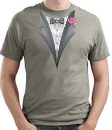 Tuxedo T-shirt With Pink Flower Stonewashed Green Shirt