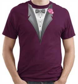 Tuxedo T-shirt with Pink Flower