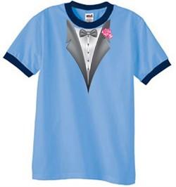 Tuxedo T-Shirt Ringer With Pink Flower