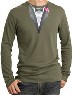 Tuxedo T-Shirt Thermal Long Sleeve With Pink Flower