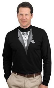 Tuxedo T-shirt Mock Turtleneck With White Flower