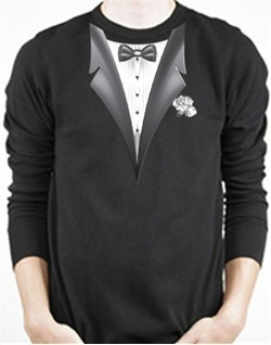 Tuxedo T-Shirt Thermal Long Sleeve With White Flower