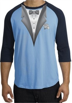 Tuxedo T-Shirt Raglan With White Flower