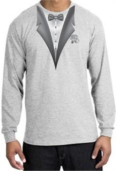 Tuxedo T-shirt Long Sleeve With White Flower