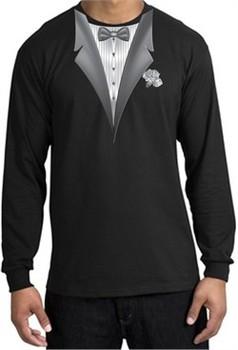Tuxedo T-shirt Long Sleeve With White Flower Black Shirt