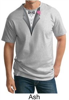 Tuxedo Tall T-shirt with Pink Flower Adult Tee Shirt