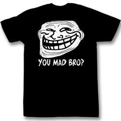 You Mad Shirt U Mad Bro Troll Adult Black Tee T-Shirt