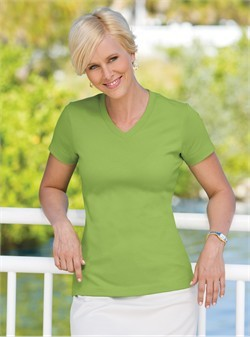 Port Authority Ladies V-Neck Shirt Modern Stretch Cotton Tee
