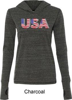 USA 3D Ladies Tri Blend Hoodie Shirt