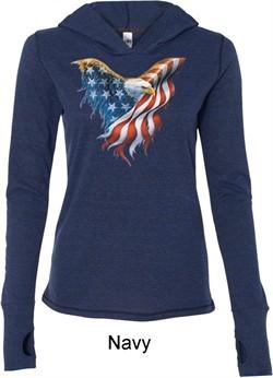 USA Eagle Flag Ladies Tri Blend Hoodie Shirt