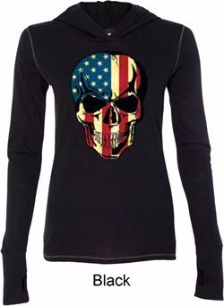 USA Skull Ladies Tri Blend Hoodie Shirt