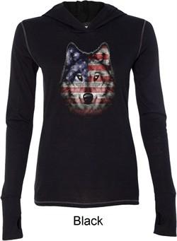 USA Wolf Ladies Tri Blend Hoodie Shirt