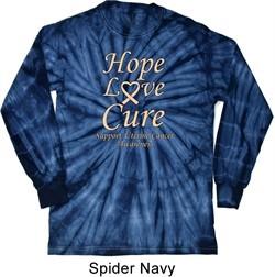 Uterine Cancer Awareness Hope Love Cure Long Sleeve Tie Dye