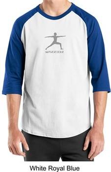 Mens Yoga T-shirt ? Warrior 2 Pose 3/4 Sleeve Raglan Shirt