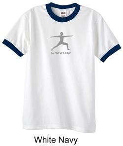 Mens Yoga T-shirt ? Warrior 2 Pose Meditation Ringer Shirt