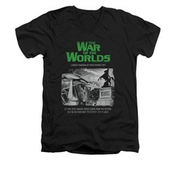 War Of The Worlds Shirt Slim Fit V-Neck Town Attack Black T-Shirt