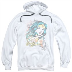 Wonder Woman Hoodie Scroll White Sweatshirt Hoody
