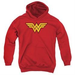 Wonder Woman Kids Hoodie Logo Red Youth Hoody