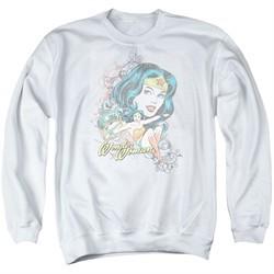 Wonder Woman Sweatshirt Scroll Adult White Sweat Shirt