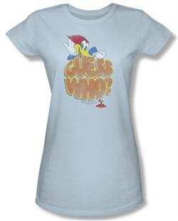 Woody Woodpecker Junior Shirt Guess Who Light Blue Tee T-Shirt