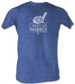 World Football League T-Shirt Detroit Wheels Adult Blue Heather Tee