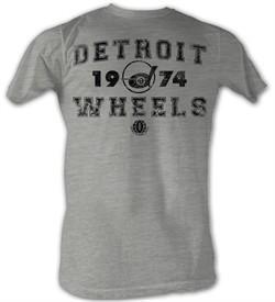 World Football League T-Shirt ? Detroit Wheels Adult Grey Tee Shirt