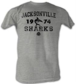 World Football League T-Shirt Jacksonville Sharks Adult Gray Tee Shirt