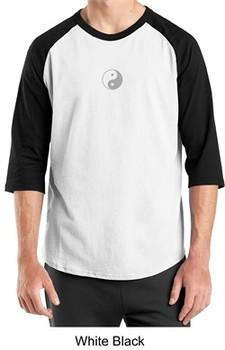 Mens Yoga T-shirt Yin Yang Small Print 3/4 Sleeve Raglan Shirt