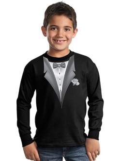 Tuxedo Kids T-shirt With White Flower  Long Sleeve Youth Tee