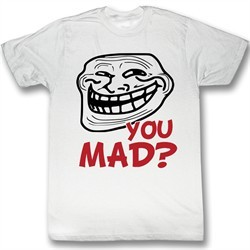 You Mad Shirt U You Mad Troll Face Red Letters Adult White Tee T-Shirt