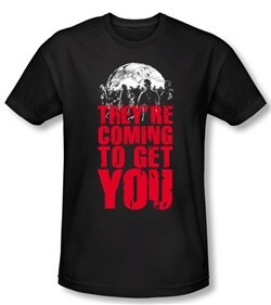 Zombie T-Shirt They're Coming To Get You Adult Black Tee Shirt
