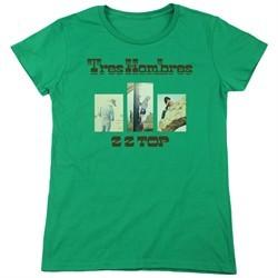 ZZ Top Womens Shirt Tres Hombres Kelly Green T-Shirt