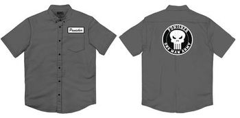 Marvel Punisher Frank Works Charcoal Button Up T-Shirt
