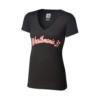 WrestleMania 31 Tri-Blend Black Women's V-Neck T-Shirt