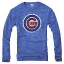 Majestic Threads Chicago Cubs Tri-Blend Logo Long Sleeve T-Shirt - Royal Blue