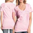 Affliction Speeder Juniors T-Shirt - Neon Pink Oil Stain