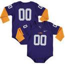 #00 LSU Tigers Nike Infant 2-Fer Football Jersey Long Sleeve Bodysuit - Purple